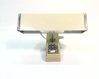 Vintage Reading Headboard Light Beige Metal and Plastic