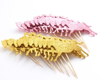 10 PC Gold or Dark Pink Glitter Unicorn Horse Shiny Cupcake Toppers Dessert Party Supplies Theme Decorations DBU040118