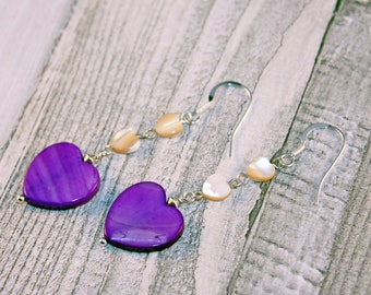 Purple Hearts Earrings