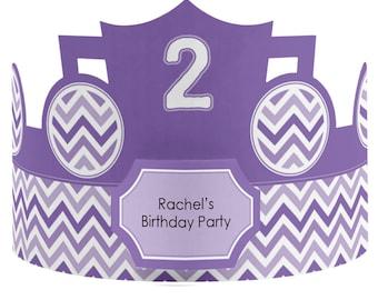 8 Custom Party Hat - Chevron Purple Birthday Party Supplies - Set of 8