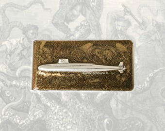 Antique Silver Submarine Money Clip Inlaid in Hand Painted Glossy Bronze Enamel Nautical Inspired with Personalized and Color Options