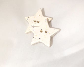 Ceramic Buttons - Speckled White Star Buttons - large