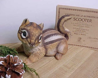 Here is Scooter The Baby Chipmunk Created by Roger J. Brown as Part of The Loveables Series, Collectible Ceramic Wildlife Figurine
