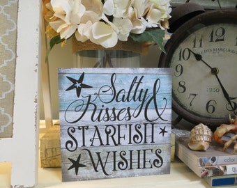 "Wood Beach Sign, ""Salty Kisses & Starfish Wishes"", Beach House Decor, Beach Lover Gift"