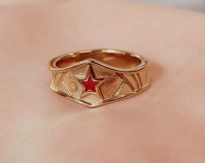 Ladies Custom gold plated surgical steel Wonder Woman Inspired Tiara Ring