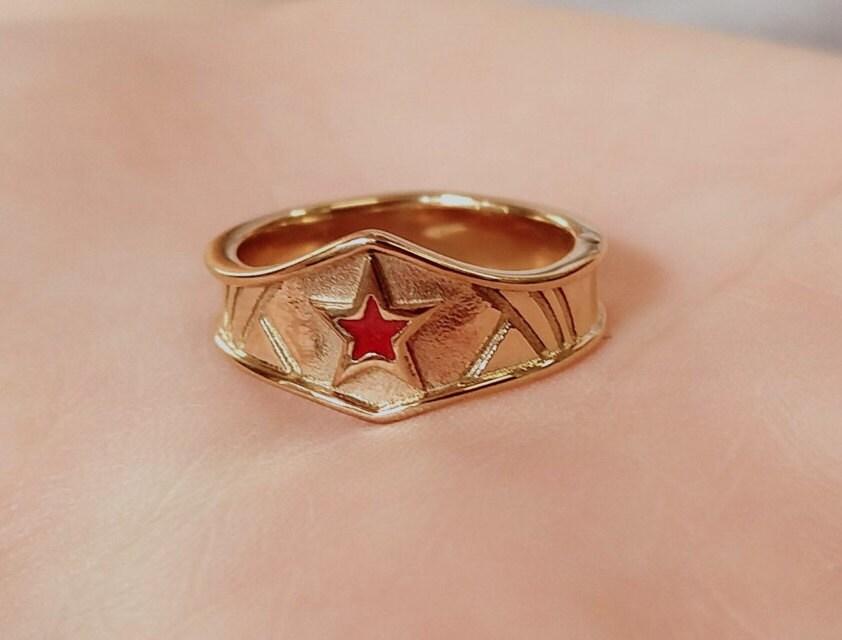 Ladies Custom gold plated surgical steel Wonder Woman Inspired