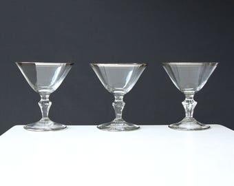 Silver Rim Champagne Glasses Vintage