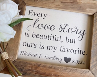 Cotton Anniversary Second Anniversary | Every Love Story is Beautiful Personalized | Wedding Engagement | Farmhouse Home Decor Valentine's