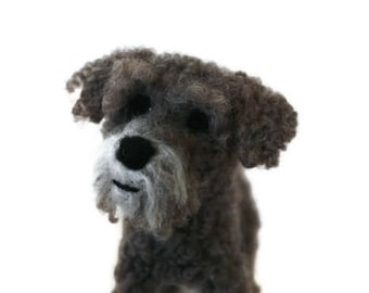 Custom - Needle felted Dog - example personalised crossbreed sculpture , Poodle cross Schnauzer