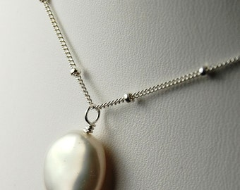 Necklace, Coin Pearl Sterling Silver Wire Wrapped, Luminous, Classic, Weddings, Bridal, Bridesmaids