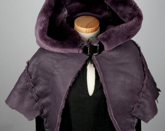 Large purple leather real fur hood lammy wool warm game of thrones costume sansa fashion fantasy medieval world of warcraft larp pagan