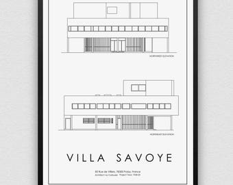 Architecture Print, Villa Savoye, France, Poster, Instant Digital Download, Gift, Minimal, Printable Art, Modern Design