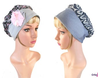 "REVERSIBLE beret ""Clotilde"" & its removable fabric flower"