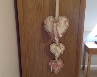 Hanging hearts with crochet lace trim