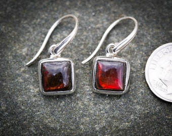 Ammolite Earrings - Ammolite Jewelry - Red with Gold and Green Ammolite Earrings - Ammolite Earrings - Ammolite and Sterling Silver Earring