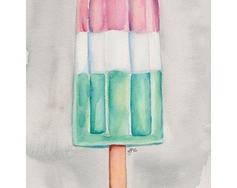 Popsicle Art - Pink Green and White Popsicle Still Life Watercolor Painting - Pop Art - Pink and Green Original Watercolor Painting, 9x12