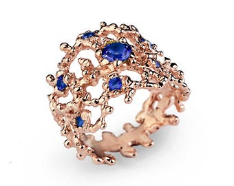 CORAL Blue Sapphire Ring, Gold Sapphire Ring, Statement Ring, Rose Gold Ring, Wide Gold Ring, September Birthstone Ring, Rose Gold Sapphire