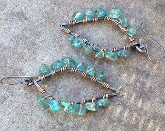 Green Leaf Earrings, Fluorite Earrings, Copper Leaf Earrings, Green Spring Earrings