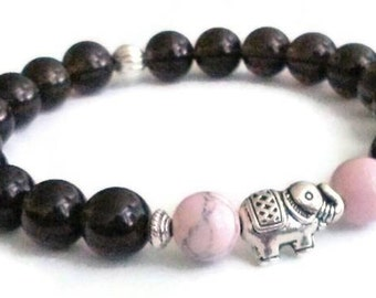Smoky Quartz Pink Magnesite Elephant bead Meditation Bracelet