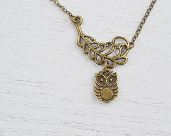 Owl Jewelry, Owl Charm Necklace, Friend Necklace, Couple Necklace, Christmas, Feathery Necklace.Bird Necklace, Feathery Owl, Wing Necklace