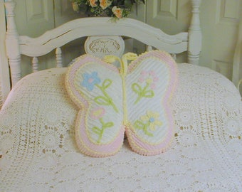 Vintage Chenille Pillow Butterfly Florals Cottage Prairie Farmhouse Chic