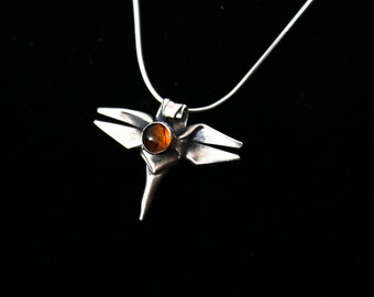 "Handmade Silver Origami Dragonfly Necklace, Baltic Amber Necklace, Dragonfly totem, Origami Jewelry, Bijoux Origami, on 18"" Snake Chain"
