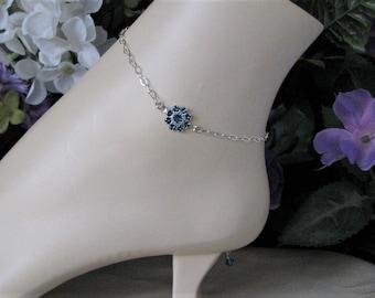 Sterling Silver Anklet-December Anklet-Birthstone Ankle Bracelet-December Jewelry-Something Blue Jewelry-Bridal Jewelry-Bridal Anklet