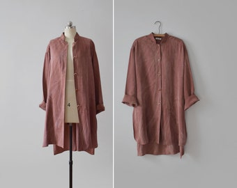 clay tunic top / vintage oversized duster smock shirt / womens L - XL