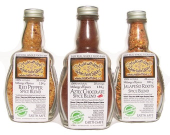 Spicy Trio - Artisan Gourmet Spice Blends - Red Pepper Aztec Chocolate Jalapeño Roots - Food - Herbs & Spices - Natural  - BBQ Grill Rub