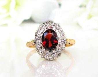 Vintage British Garnet Diamond Halo Ring 1.21ct Garnet Alternative Engagement Ring 18K Two Tone Gold Ring January Birthstone Ring
