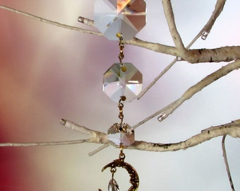 Cascading Crystal Sun Catcher & Christmas Ornament, Man In The Moon