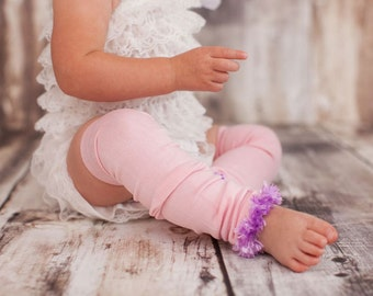 Pink and Purple Bamboo Spring Easter Baby Toddler Fuzzy Leg Warmers