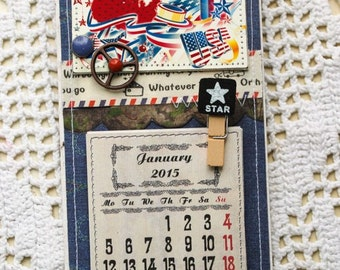 Fridge magnet with calendar with loose-leaf  2015 Handmade artist Scrapbooking USA Flag Gift New Year