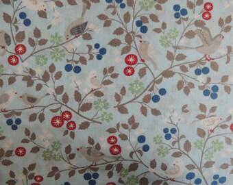 Background cotton fabric coupon blue birds