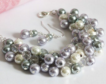 Lilac Gray and Ivory Pleal Cluster Pearl Bracelet Pearl Chunky Bracelet Bridesmaids Gifts Wedding Bracelet Purple and Gray Bracelet