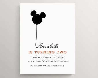 mickey inspired birthday invitation   mickey inspired baby shower   kids   disney   minnie mouse   mouse ears