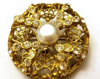 30% Off Sale Large Vintage Brooch Gold tone Faux pearl Clear Rhinestones