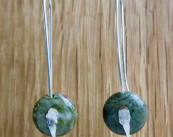 Handmade Rainforest Jasper and Silver earrings