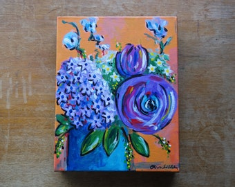 Original Acrylic Painting on Canvas, Ranunculus and Hyacinth, Ready to Hang, Still Life Painting