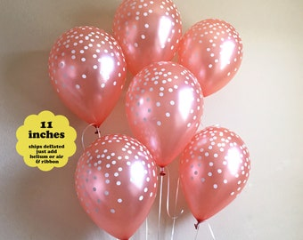 "Rose Gold Confetti Balloons - 6 pack 11"" Latex Balloon - Bridal Shower Decorations Birthday Party Decor Bachelorette Rose Gold Decorations"