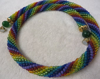 Necklace Crocheted Rainbow Rope with Magnetic Clasp