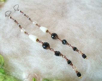 Extra Long Beaded Earrings Filigree Bead Caps Glass Crystal Pearl Facetted Round Beaded Link Chain Long Earrings Hippie Boho Hollywood Retro