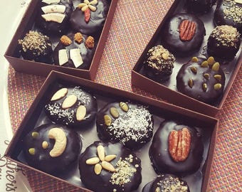 Vegan Date balls covered in carob chocolate, best healthy treats,  Mother's Day - Vegan Gifts - Gift Boxes