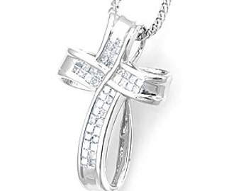 Diamond Cross Pendant, 14k White Gold Ladies Pendant, Ladies Fine Jewelry