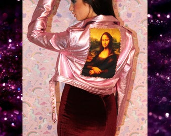 Vegan leather Jacket with Mona Lisa