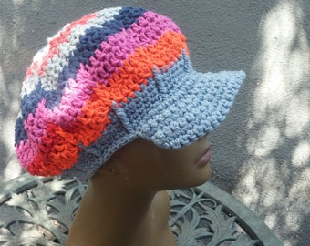 Crochet Hat Newsboy Slouchy Cotton Red White and Blue Beanie Hand Crocheted Cool Vibe Hat