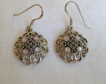 Sterling Silver Pink Mother of Pearl and Marcasite Earrings