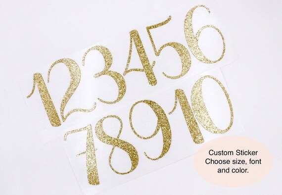 Customizable glitter number stickers gold glitter number stickers glitter wedding table numbers