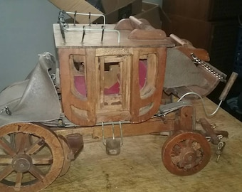 Vintage hand made wooden western stage  coach
