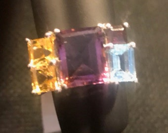 Amethyst and topaz sterling ring